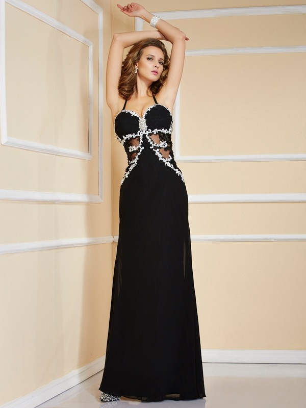 Sheath/Column Spaghetti Straps Sleeveless Applique Beading Long Chiffon Dresses