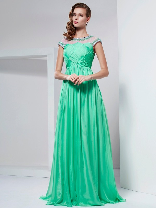 A-Line/Princess High Neck Short Sleeves Ruffles Long Chiffon Dresses