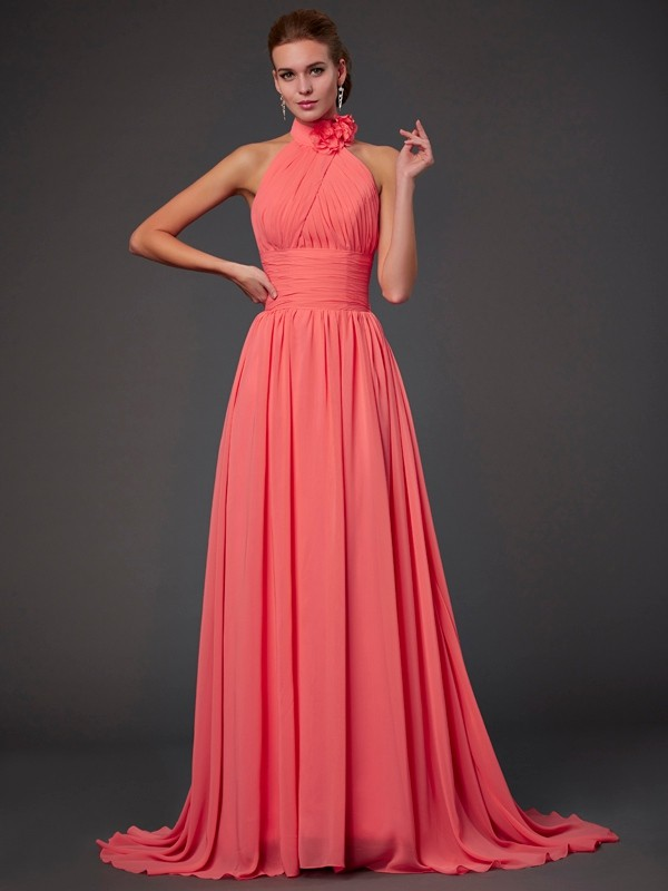 A-Line/Princess Halter Sleeveless Hand-Made Flower Long Chiffon Bridesmaid Dresses