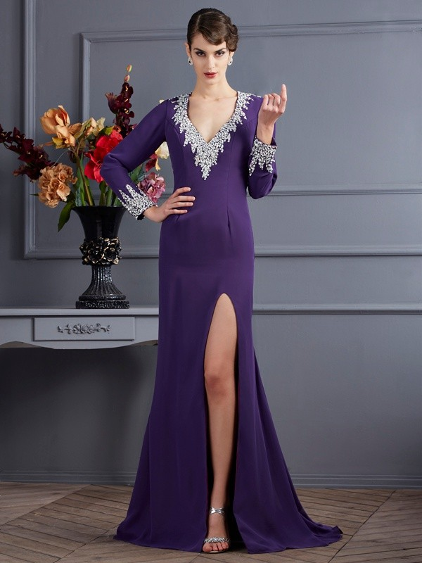Trumpet/Mermaid V-neck Long Sleeves Beading Long Chiffon Dresses