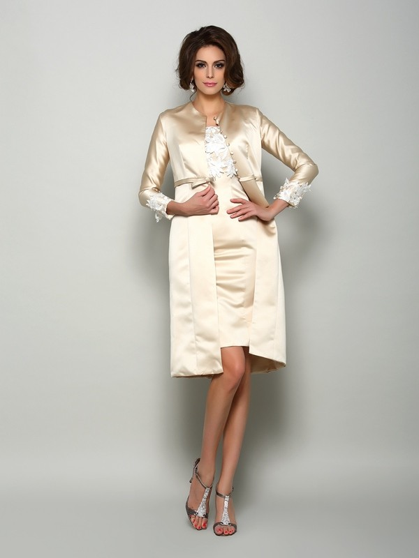 Sheath/Column Square Applique Short Sleeves Short Satin Mother of the Bride Dresses