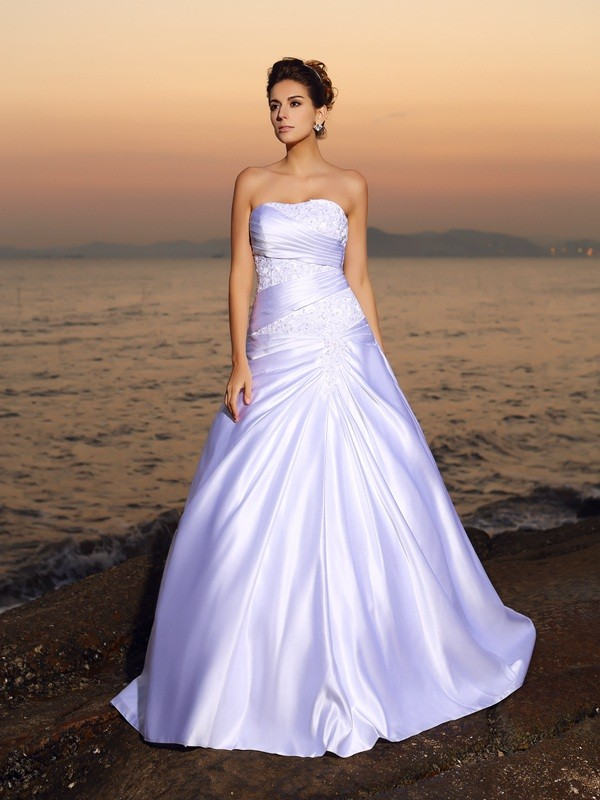 Ball Gown Strapless Beading Sleeveless Long Satin Beach Wedding Dresses