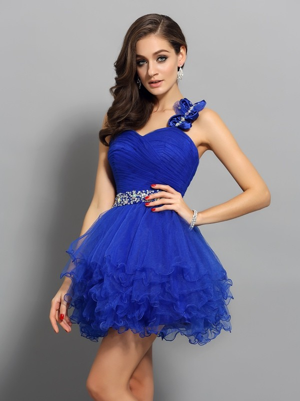 A-Line/Princess One-Shoulder Beading Sleeveless Short Organza Cocktail Dresses