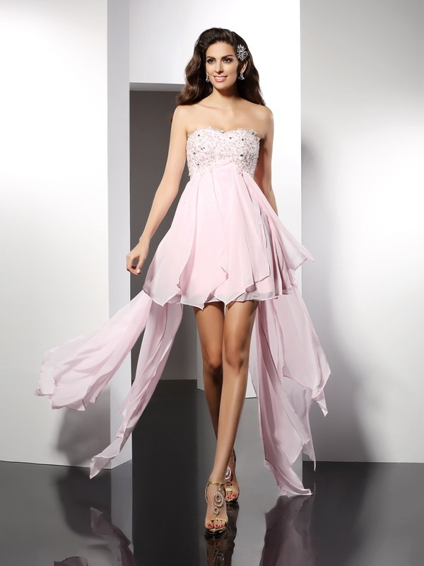 A-Line/Princess Sweetheart Applique Sleeveless High Low Chiffon Cocktail Dresses