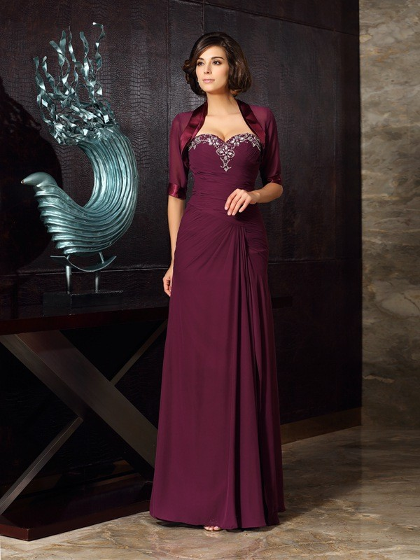 Sheath/Column Sweetheart Beading Sleeveless Long Chiffon Mother of the Bride Dresses