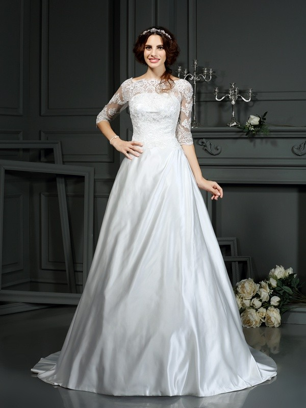 A-Line/Princess Bateau Lace 1/2 Sleeves Long Satin Wedding Dresses