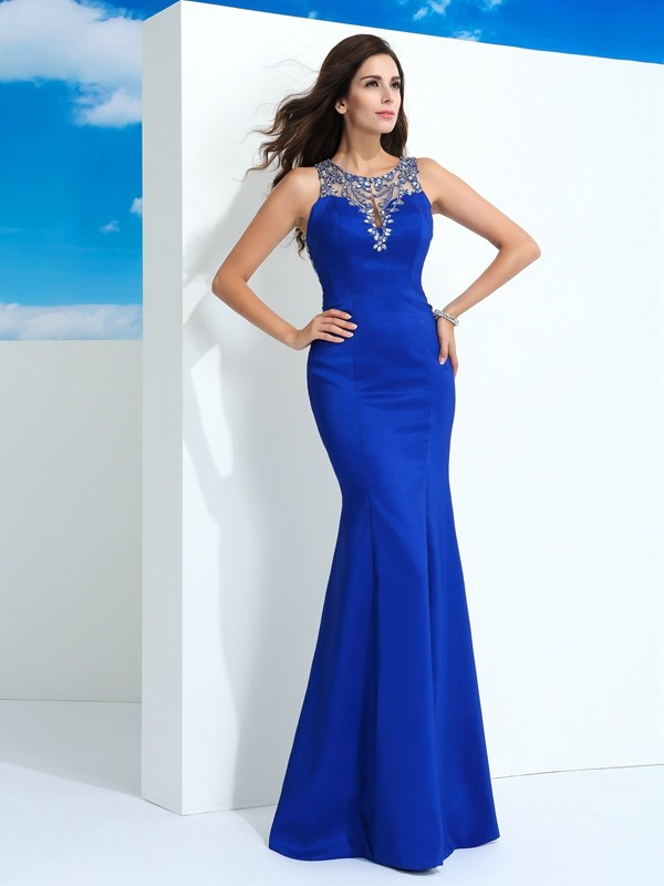 Sheath/Column Sheer Neck Beading Sleeveless Long Chiffon Dresses