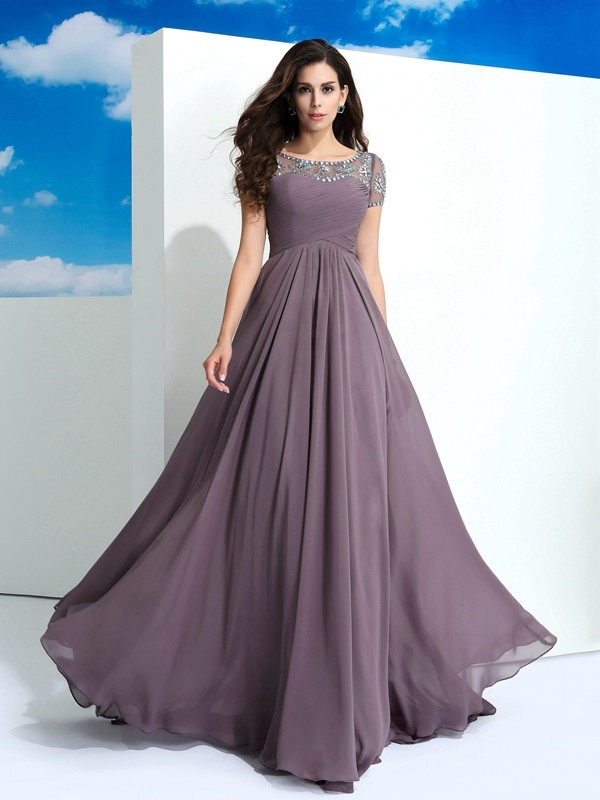 A-Line/Princess Sheer Neck Beading Short Sleeves Long Chiffon Dresses