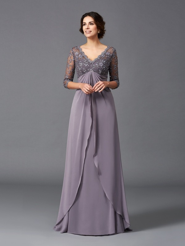 A-Line/Princess V-neck Lace 3/4 Sleeves Long Chiffon Mother of the Bride Dresses