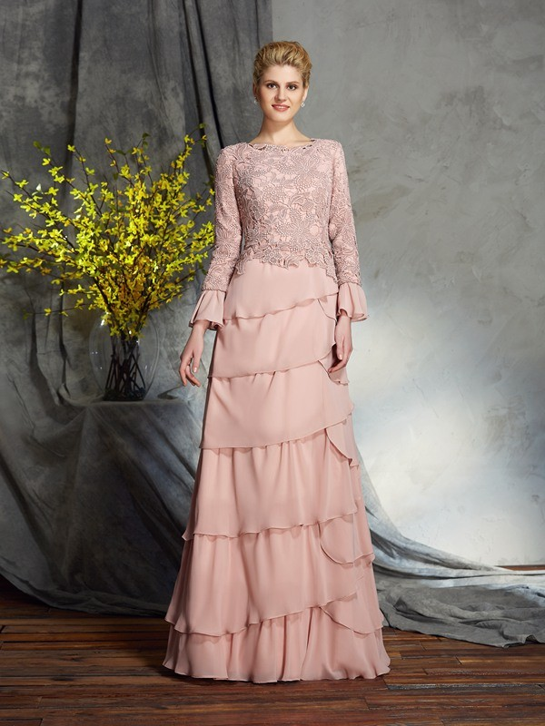 Sheath/Column Scoop Ruffles Long Sleeves Long Chiffon Mother of the Bride Dresses