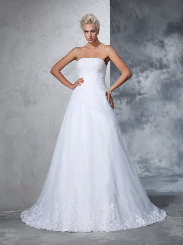 Ball Gown Strapless Applique Sleeveless Long Net Wedding Dresses