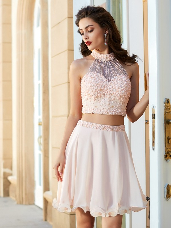 A-Line/Princess Halter Beading Sleeveless Chiffon Short/Mini Two Piece Dresses