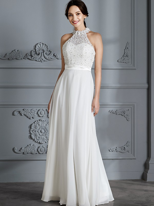 A-Line Scoop Sleeveless Floor-Length Chiffon Wedding Dresses