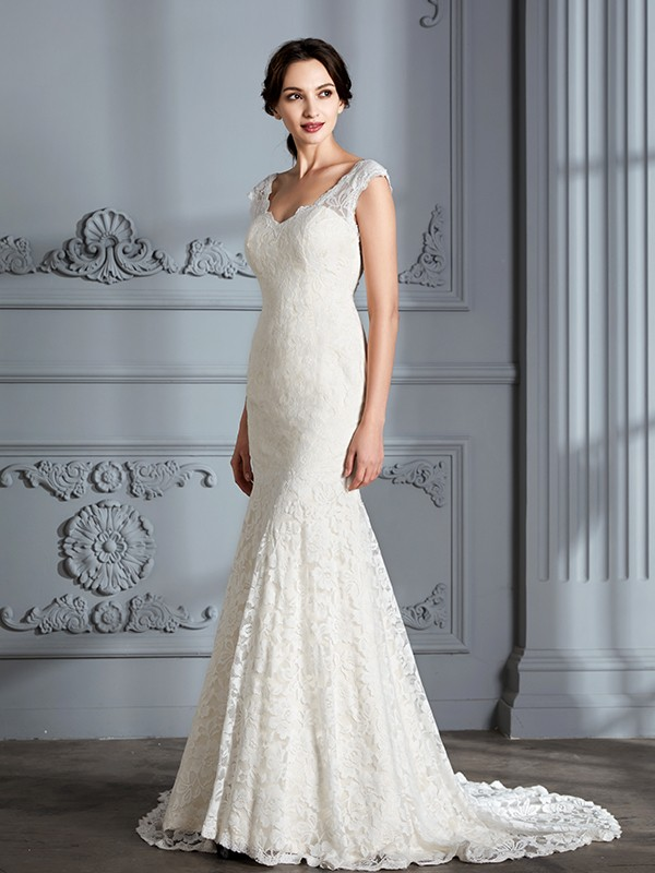 Mermaid Sleeveless V-Neck Lace Sweep/Brush Train Wedding Dresses