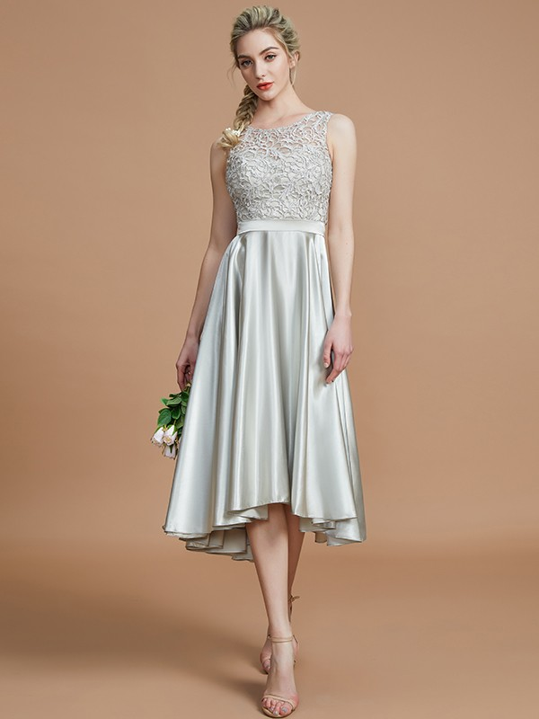 A-Line Bateau Sleeveless Ruffles Asymmetrical Silk like Satin Bridesmaid Dresses
