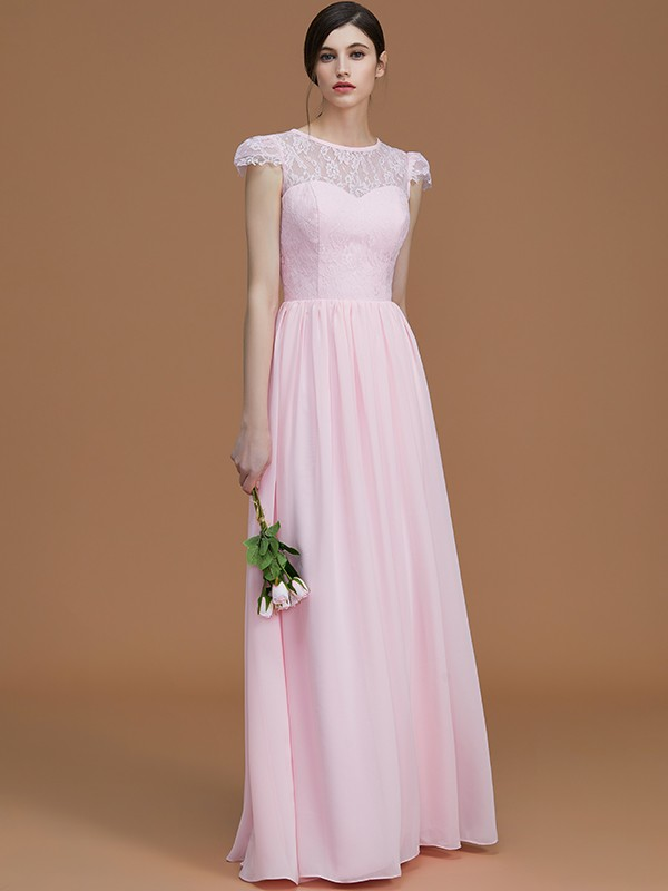 A-Line Jewel Short Sleeves Floor-Length Lace Chiffon Bridesmaid Dress