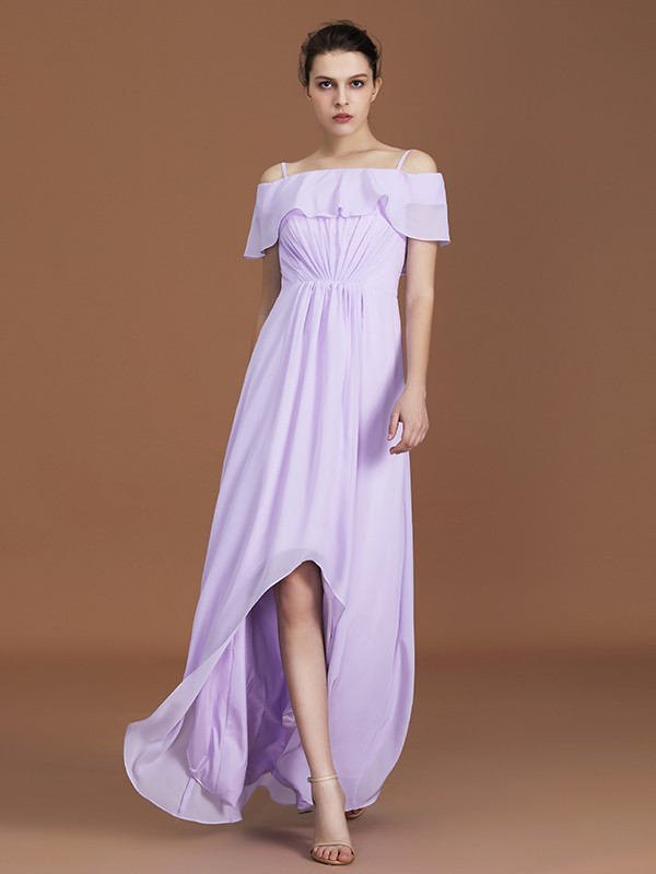 A-Line Asymmetrical Short Sleeves Off-the-Shoulder Chiffon Bridesmaid Dress