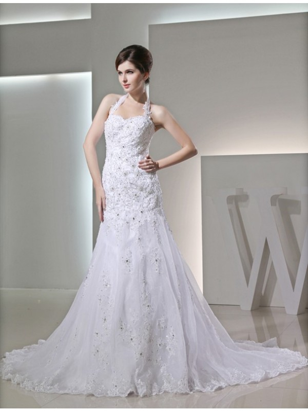 Trumpet/Mermaid Beading Halter Sleeveless Applique Satin Wedding Dresses