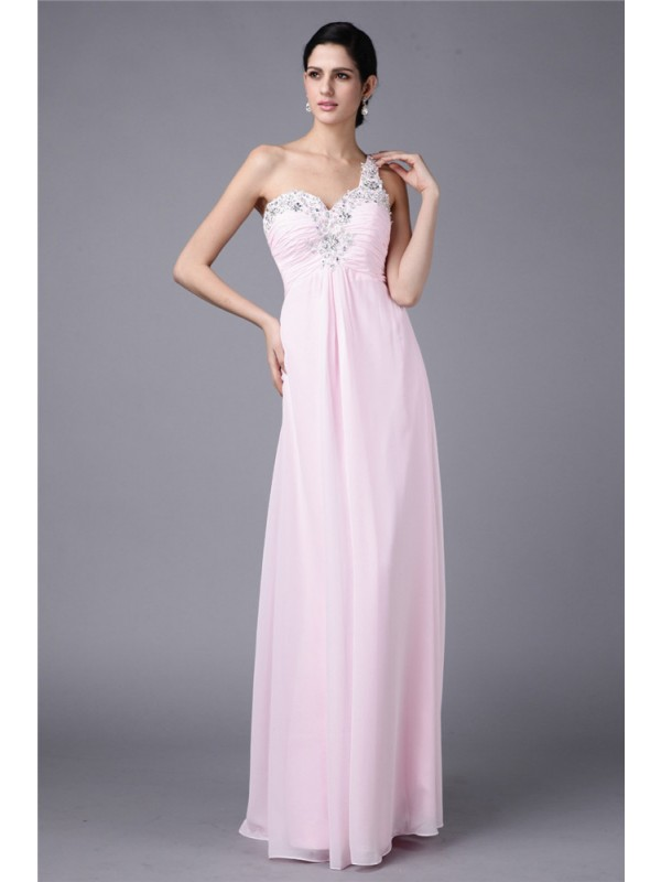Sheath/Column One-Shoulder Sleeveless Beading Applique Long Chiffon Dresses