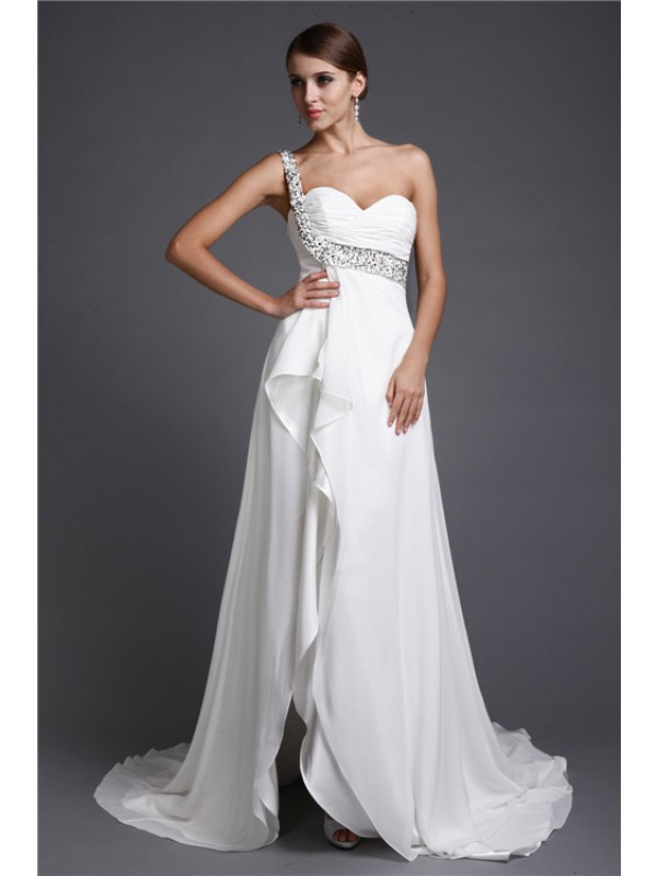 A-Line/Princess One Shoulder Sleeveless Long Beading Chiffon Cocktail Dresses