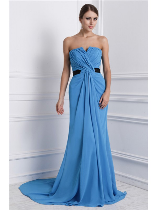A-Line/Princess Strapless Sleeveless Ruffles Long Chiffon Dresses