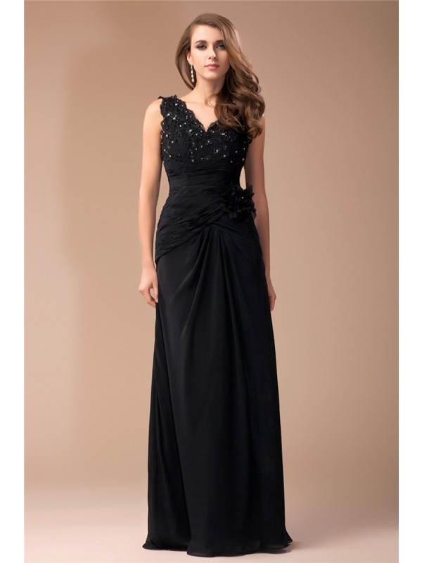 Sheath/Column V-neck Sleeveless Long Beading Lace Chiffon Dresses