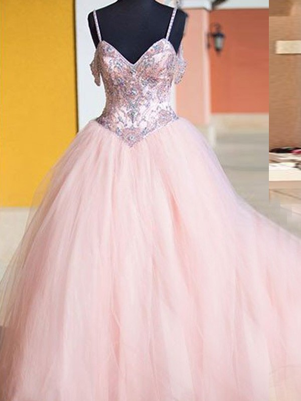 Ball Gown Sleeveless Spaghetti Straps Tulle Crystal Floor-Length Dresses