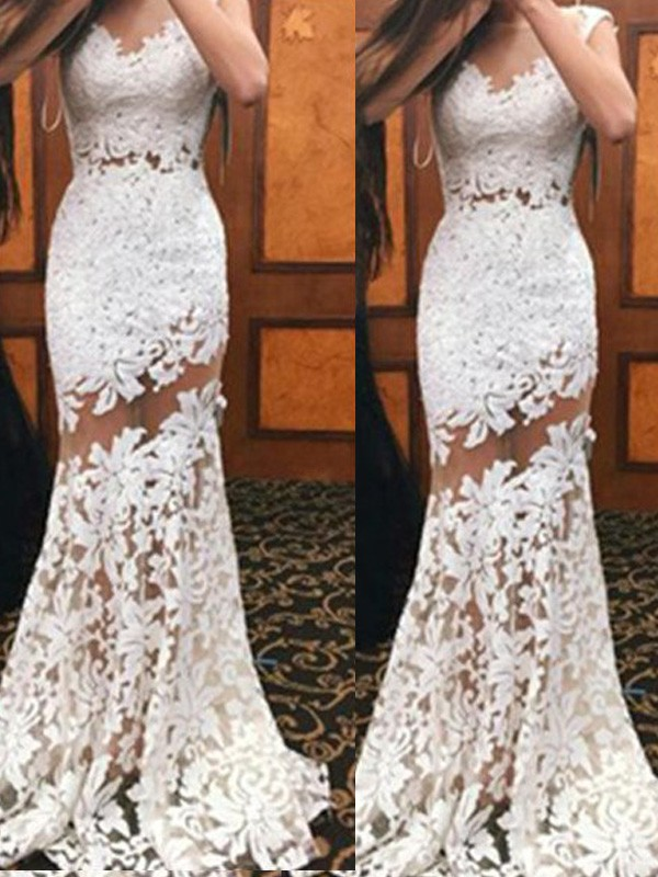 Trumpet/Mermaid Scoop Sleeveless Sweep/Brush Train Lace Dresses