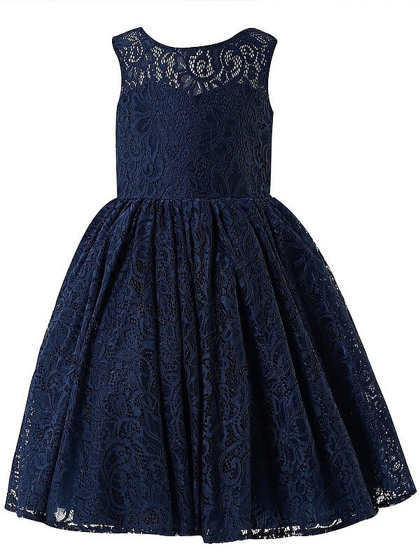A-Line Scoop Sleeveless Lace Tea-length Flower Girl Dress