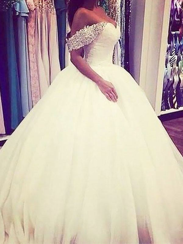 Ball Gown Tulle Off-the-Shoulder Sweep/Brush Train Sleeveless Beading Wedding Dresses