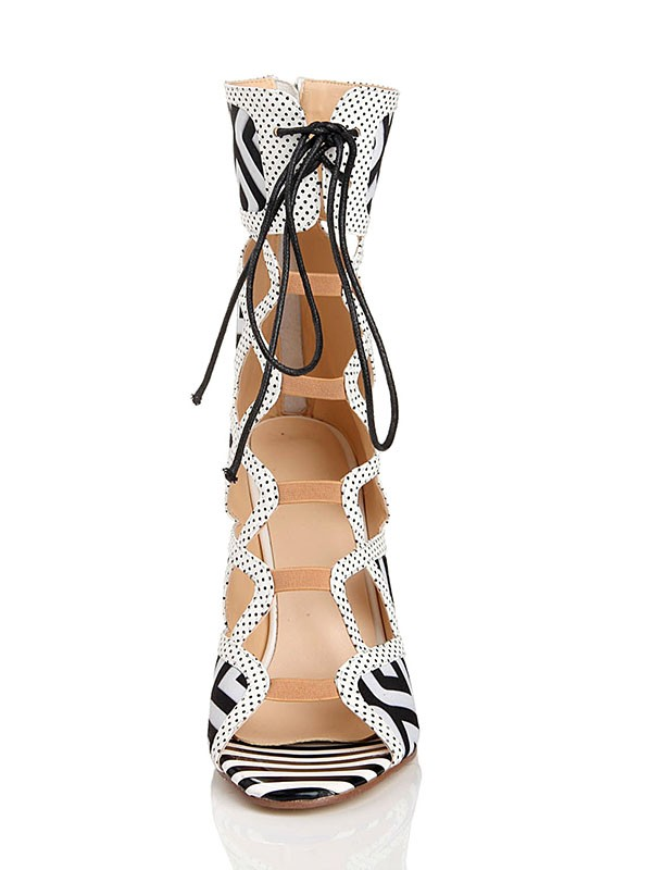 Women's Stiletto Heel With Lace Up Peep Toe Flock Sandal Mid-Calf White Boots