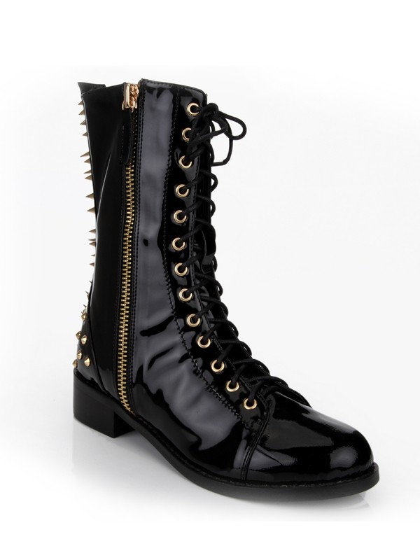Women's Kitten Heel Closed Toe Patent Leather With Rivet Mid-Calf Black Boots