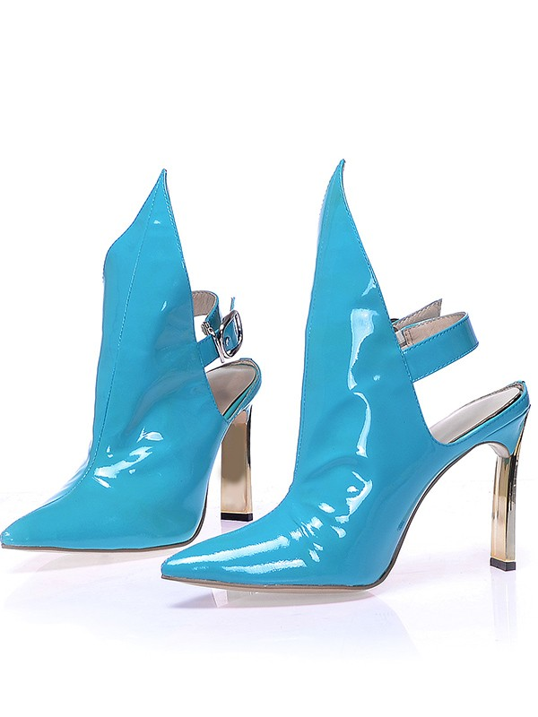 Women's Patent Leather Closed Toe Stiletto Heel With Buckle Booties/Ankle Blue Boots