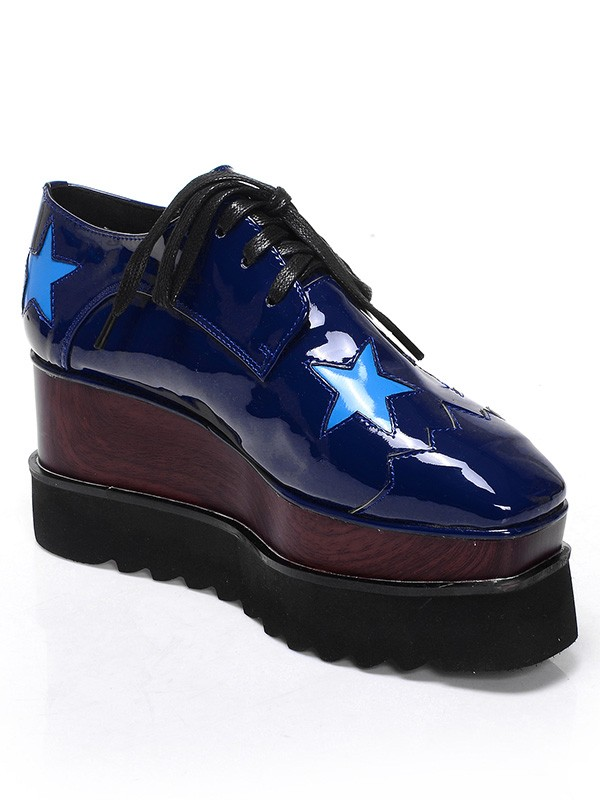 Women's Patent Leather Platform Closed Toe Wedge Heel With Lace-up Dark Navy Fashion Sneakers