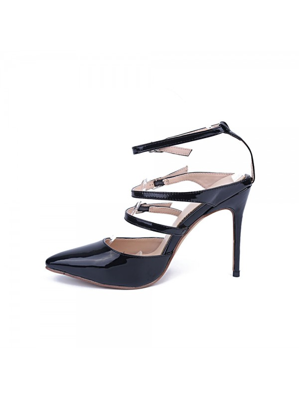 Women's Patent Leather Closed Toe Stiletto Heel With Buckle Party Sandals Shoes