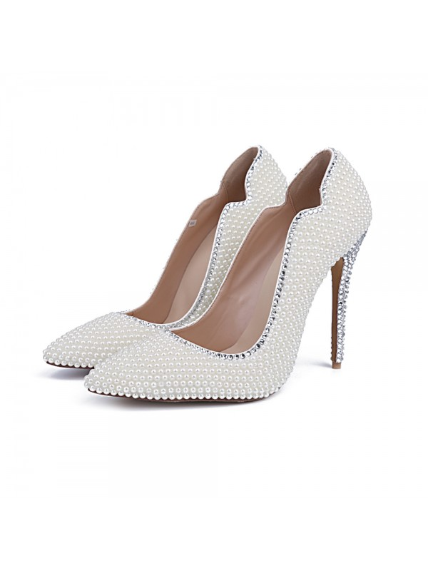 Women's Closed Toe Patent Leather Stiletto Heel With Pearl White Wedding Shoes