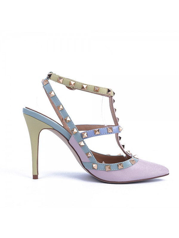 Women's Closed Toe Patent Leather Stiletto Heel With Rivet Sandals Shoes