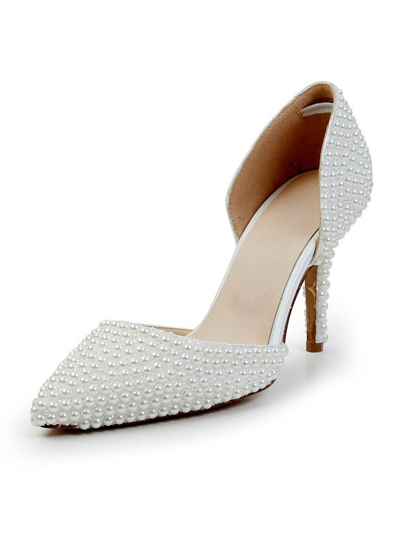 Women's Stiletto Heel Patent Leather Closed Toe With Pearl High Heels