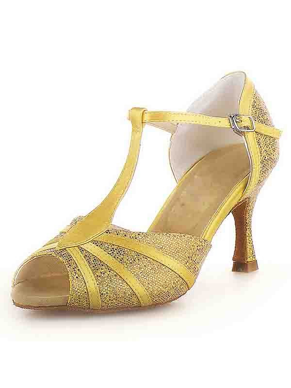 Women's Peep Toe Stiletto Heel Satin Buckle Sparkling Glitter Dance Shoes
