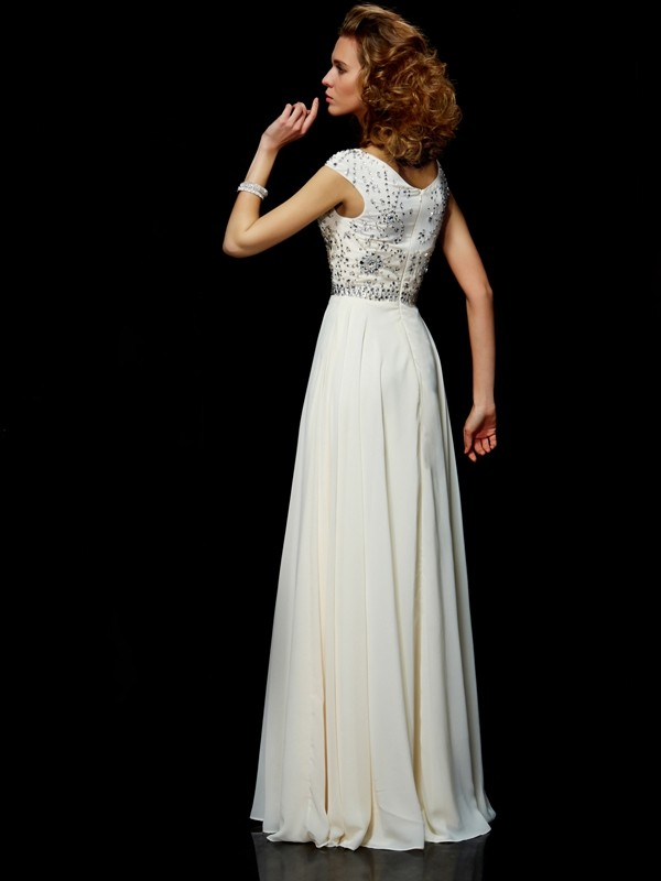 Ball Gown High Neck Short Sleeves Beading Long Chiffon Dresses