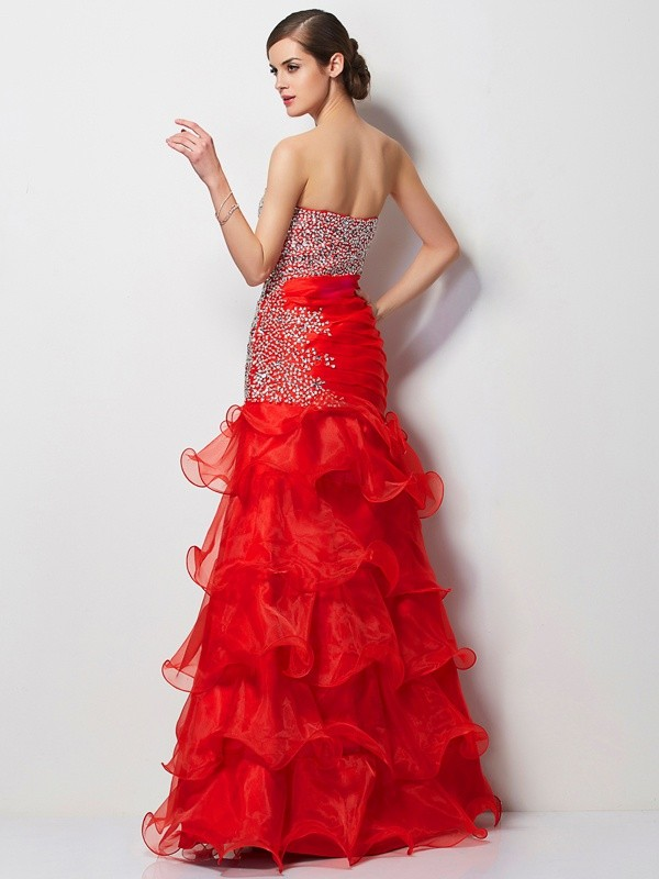 Trumpet/Mermaid Sweetheart Sleeveless Beading Long Tulle Dresses
