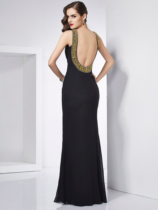 Trumpet/Mermaid Jewel Sleeveless Beading Long Chiffon Dresses