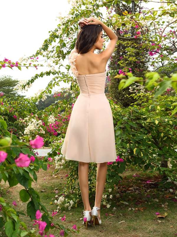 A-Line/Princess One-Shoulder Ruched Sleeveless Short Chiffon Bridesmaid Dresses