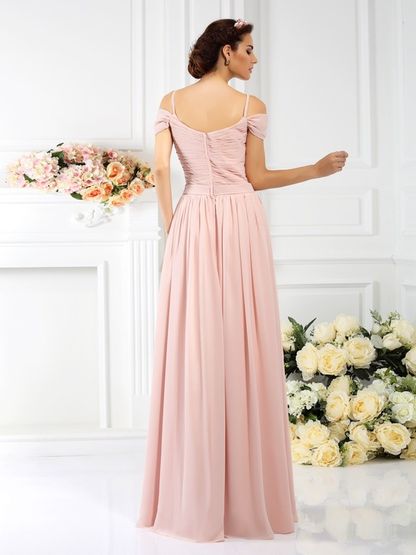 A-Line/Princess Spaghetti Straps Pleats Sleeveless Long Chiffon Bridesmaid Dresses