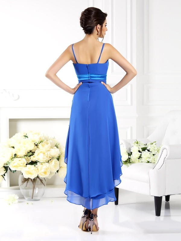 A-Line/Princess Spaghetti Straps Ruffles Sleeveless High Low Chiffon Bridesmaid Dresses