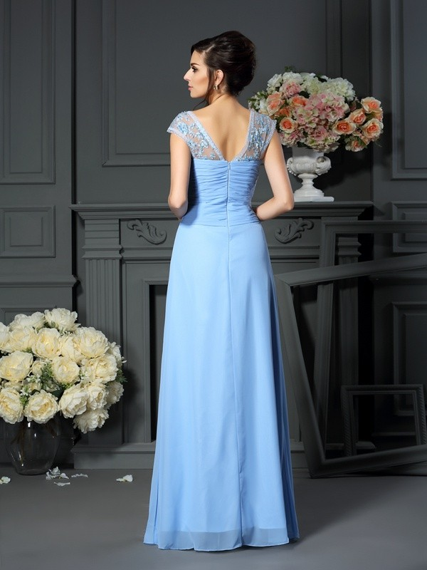 Sheath/Column Straps Pleats Sleeveless Long Chiffon Mother of the Bride Dresses