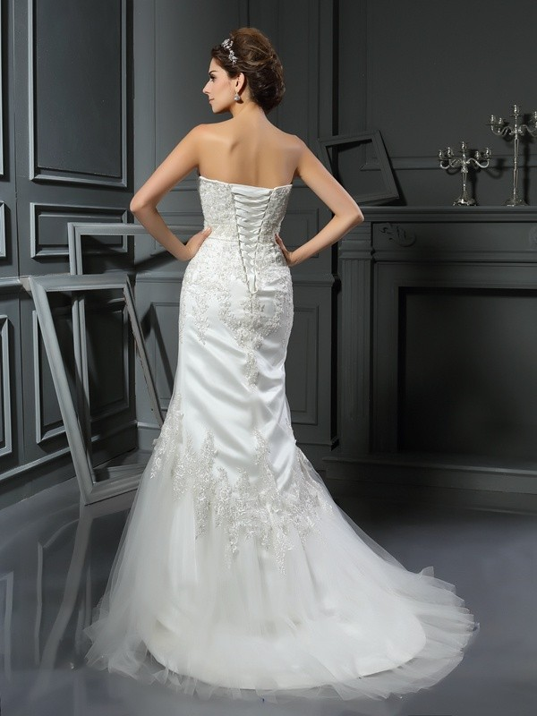 Trumpet/Mermaid Straps Applique Sleeveless Long Satin Wedding Dresses