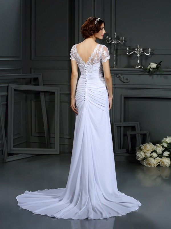 Sheath/Column V-neck Lace Short Sleeves Long Chiffon Wedding Dresses