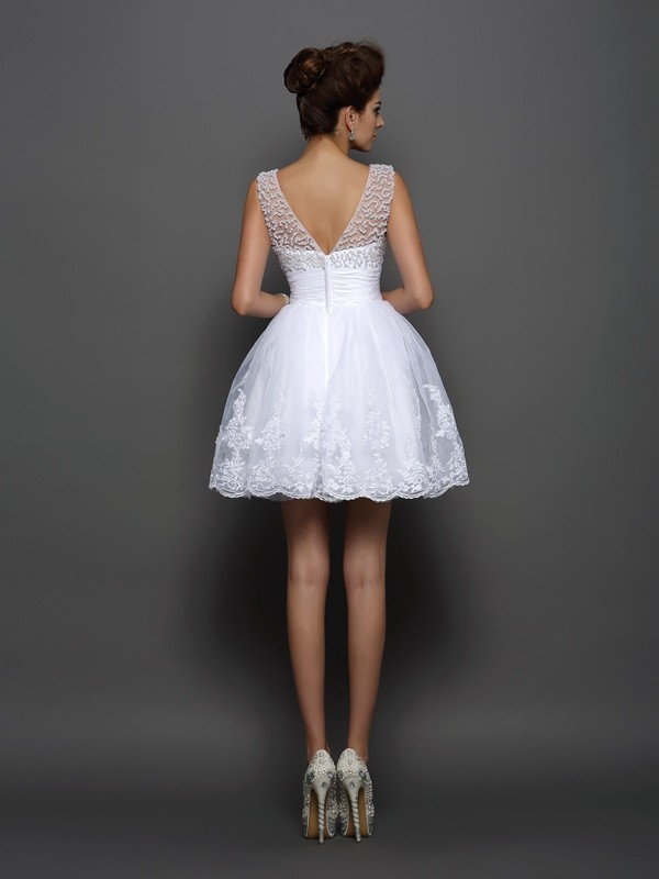 A-Line/Princess Bateau Pearls Sleeveless Short Elastic Woven Satin Cocktail Dresses