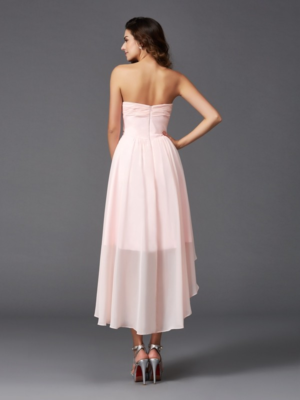 A-Line/Princess Sweetheart Ruffles Sleeveless High Low Chiffon Bridesmaid Dresses